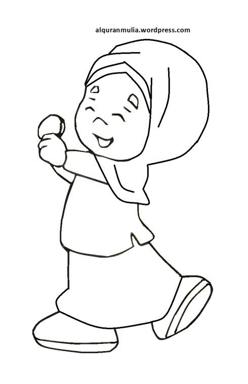 Mewarnai gambar kartun anak muslimah 63