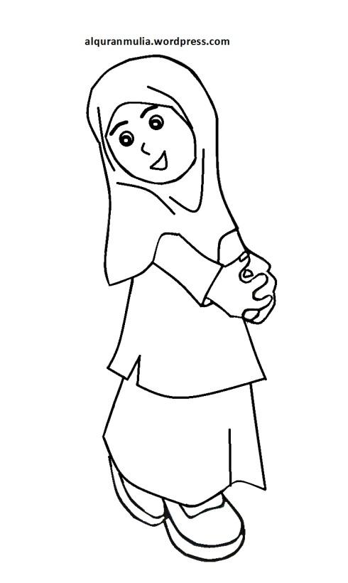 Mewarnai gambar kartun anak muslimah 64
