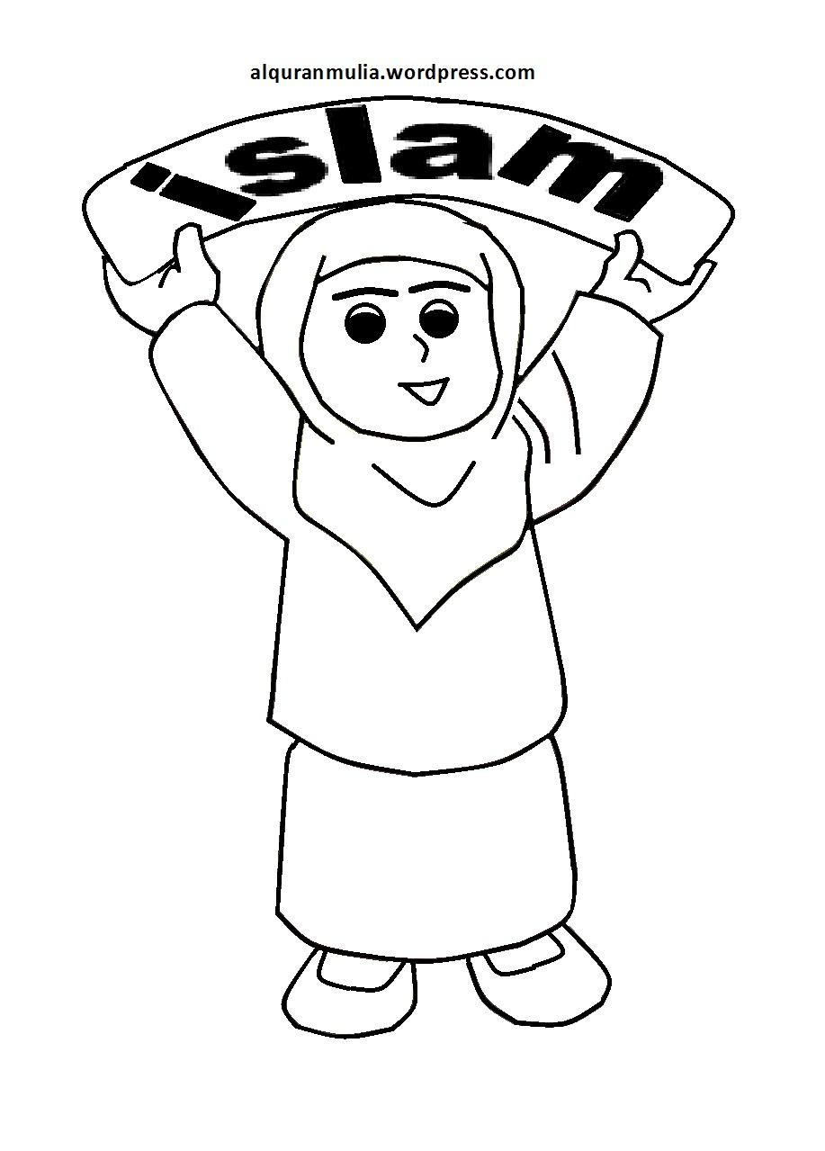 Mewarnai Gambar Kartun Anak Muslimah 65 Alqur Anmulia