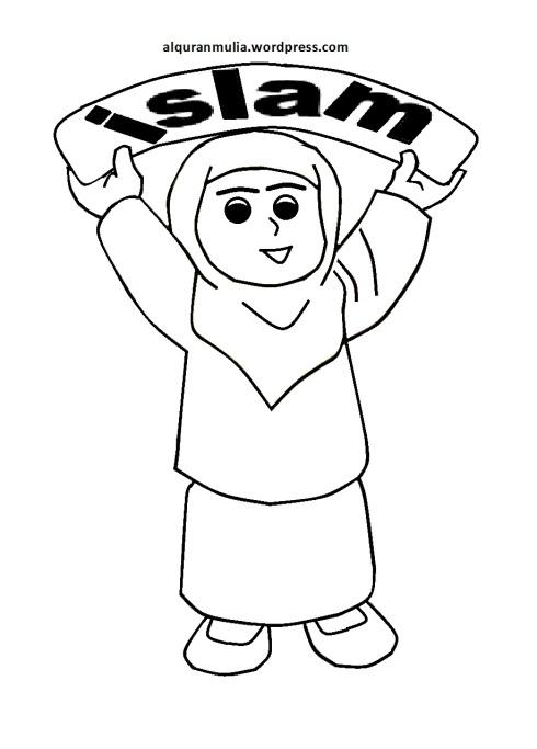 Mewarnai gambar kartun anak muslimah 65