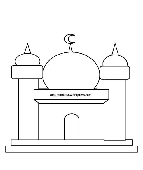 Mewarnai gambar masjid 10 anak muslim