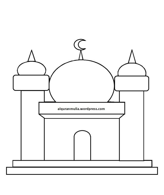 Mewarnai Gambar Masjid 10 Anak Muslim Alqur Anmulia