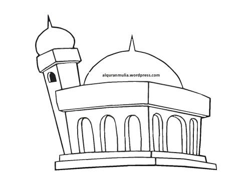 Mewarnai gambar masjid 11 anak muslim