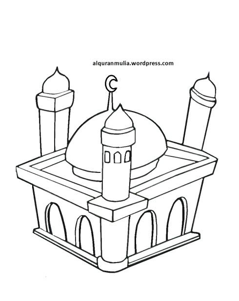Mewarnai gambar masjid 6 anak muslim