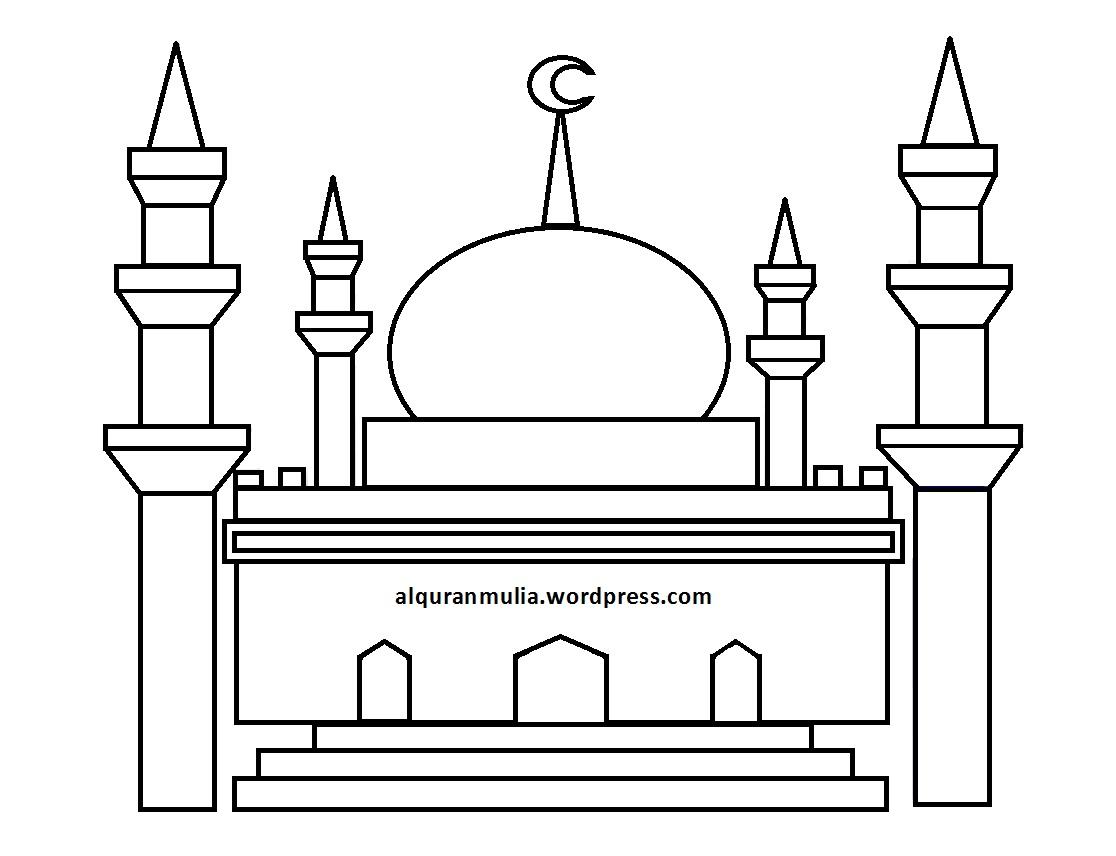 Mewarnai Gambar Masjid  Anak Muslim