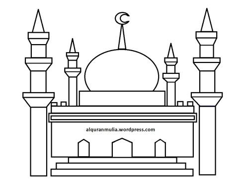 Mewarnai gambar masjid 7 anak muslim