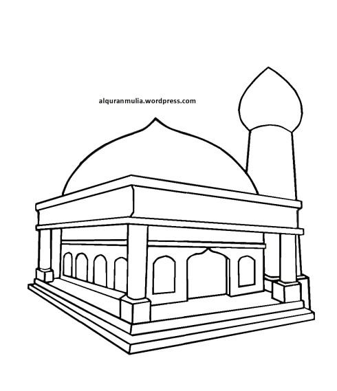Mewarnai gambar masjid 9 anak muslim