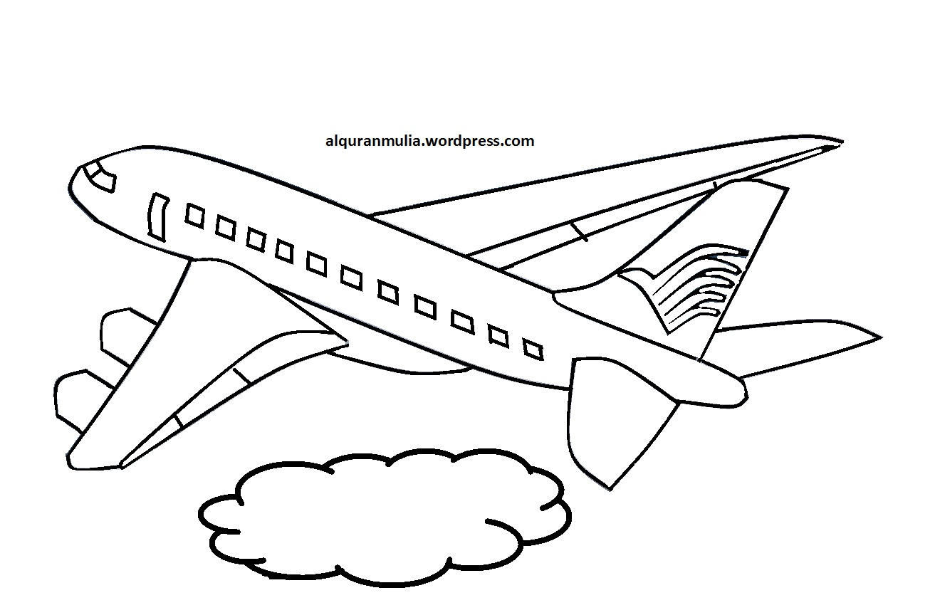 Mewarnai Gambar Pesawat Terbang 10 Anak Muslim