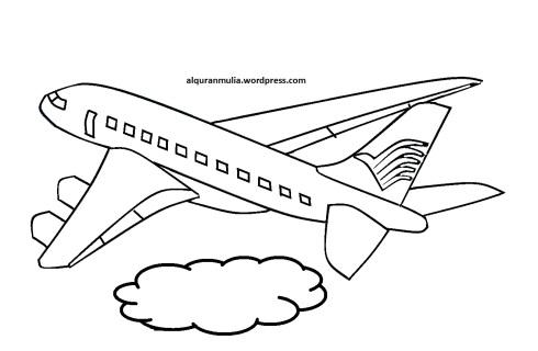 Mewarnai gambar pesawat terbang10 anak muslim