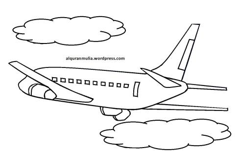 Mewarnai gambar pesawat terbang11 anak muslim