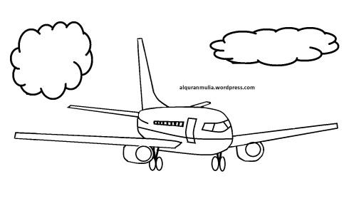 Mewarnai gambar pesawat terbang12 anak muslim