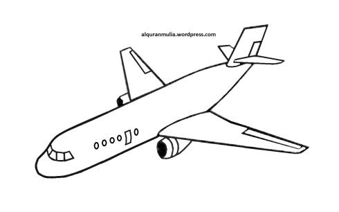 Mewarnai gambar pesawat terbang3 anak muslim