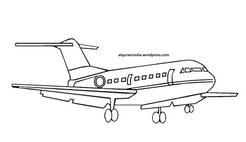 Mewarnai gambar pesawat terbang4 anak muslim