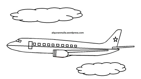 Mewarnai gambar pesawat terbang5 anak muslim