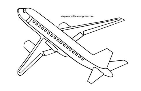 Mewarnai gambar pesawat terbang6 anak muslim