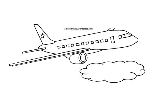 Mewarnai gambar pesawat terbang7 anak muslim