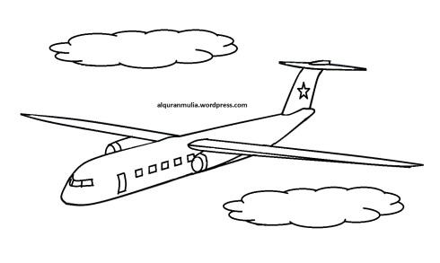 Mewarnai gambar pesawat terbang9 anak muslim
