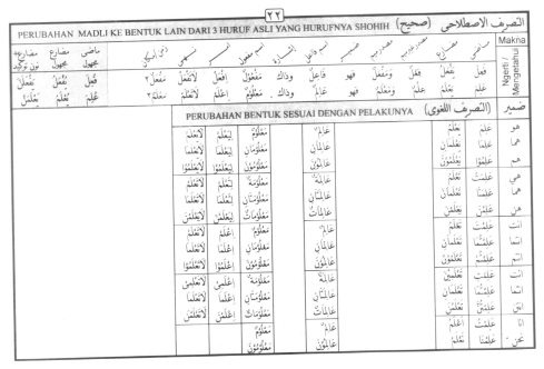 Tasrif kata 'alima (mengetahui)