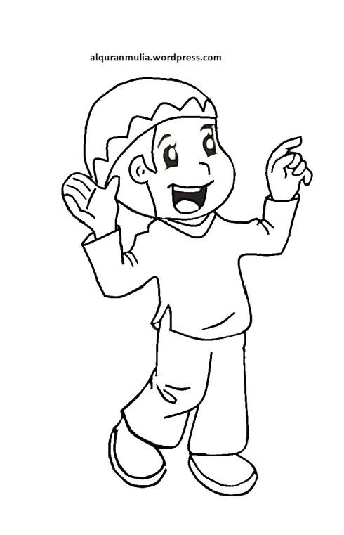 Mewarnai gambar kartun anak muslim 27