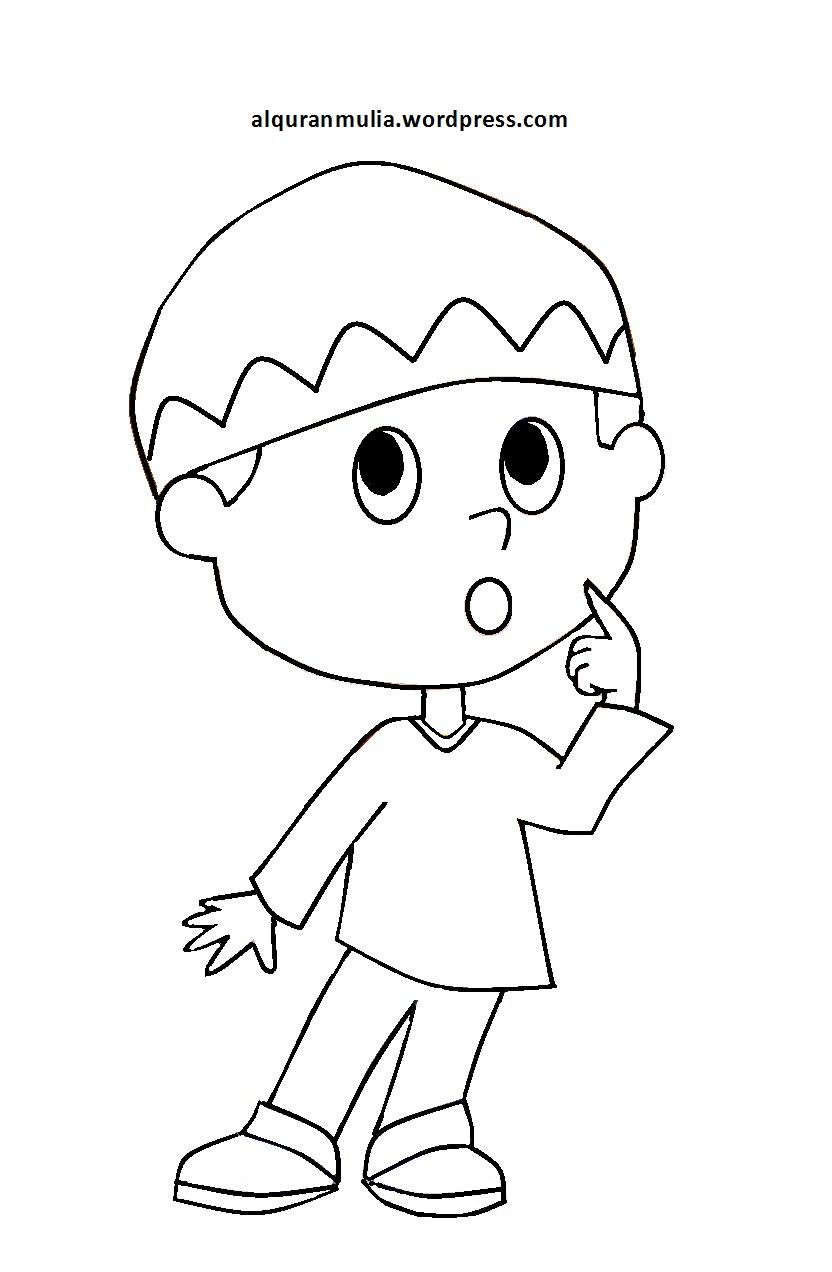Mewarnai Gambar Kartun Anak Muslim 31 Alquranmulia