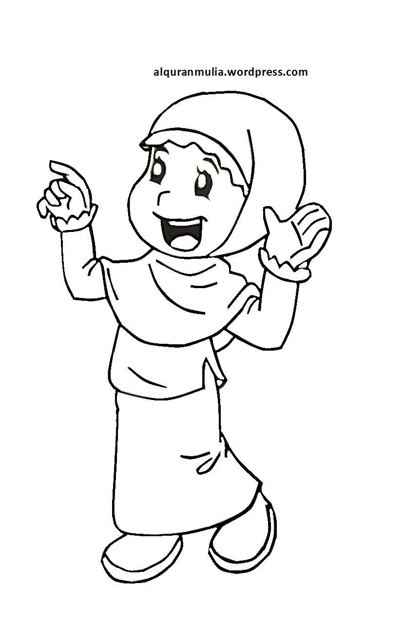 Mewarnai Gambar Kartun Anak Muslimah 66 Alquranmulia