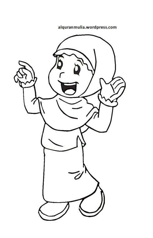 Mewarnai gambar kartun anak muslimah 66