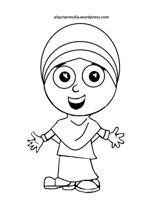 Mewarnai gambar kartun anak muslimah 69