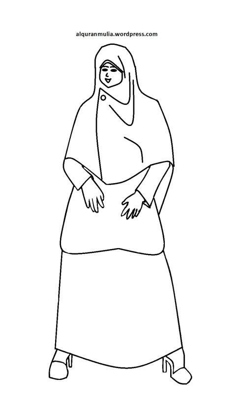 Mewarnai gambar kartun anak muslimah 71