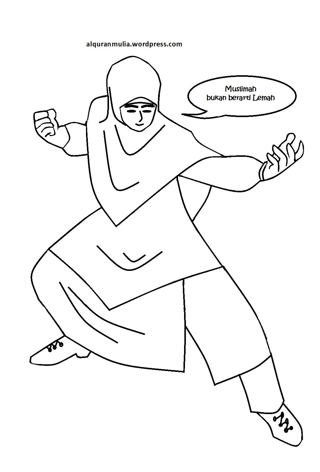 Mewarnai Gambar Kartun Anak Muslimah 72