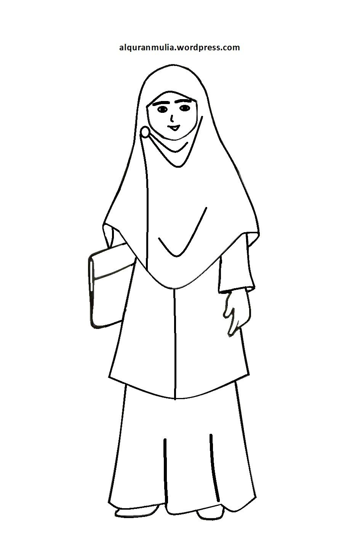 Mewarnai Gambar Kartun Anak Muslimah 76 Alqur Anmulia