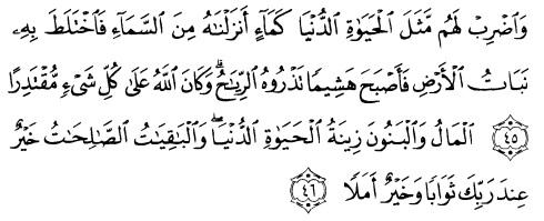 tulisan arab alquran surat al kahfi ayat 45-46