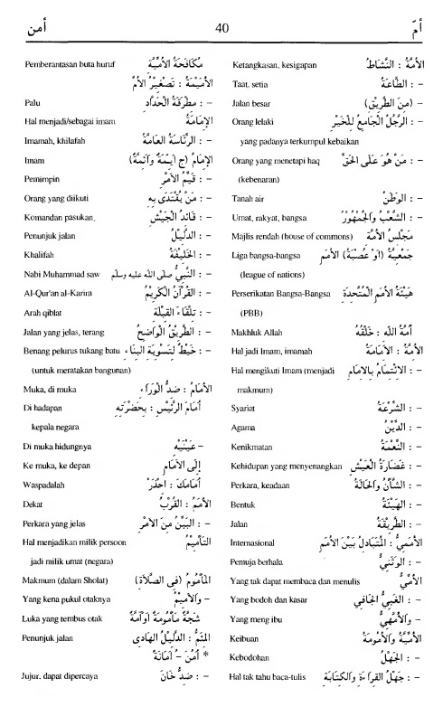 40. kamus arab almunawir -amma-amana