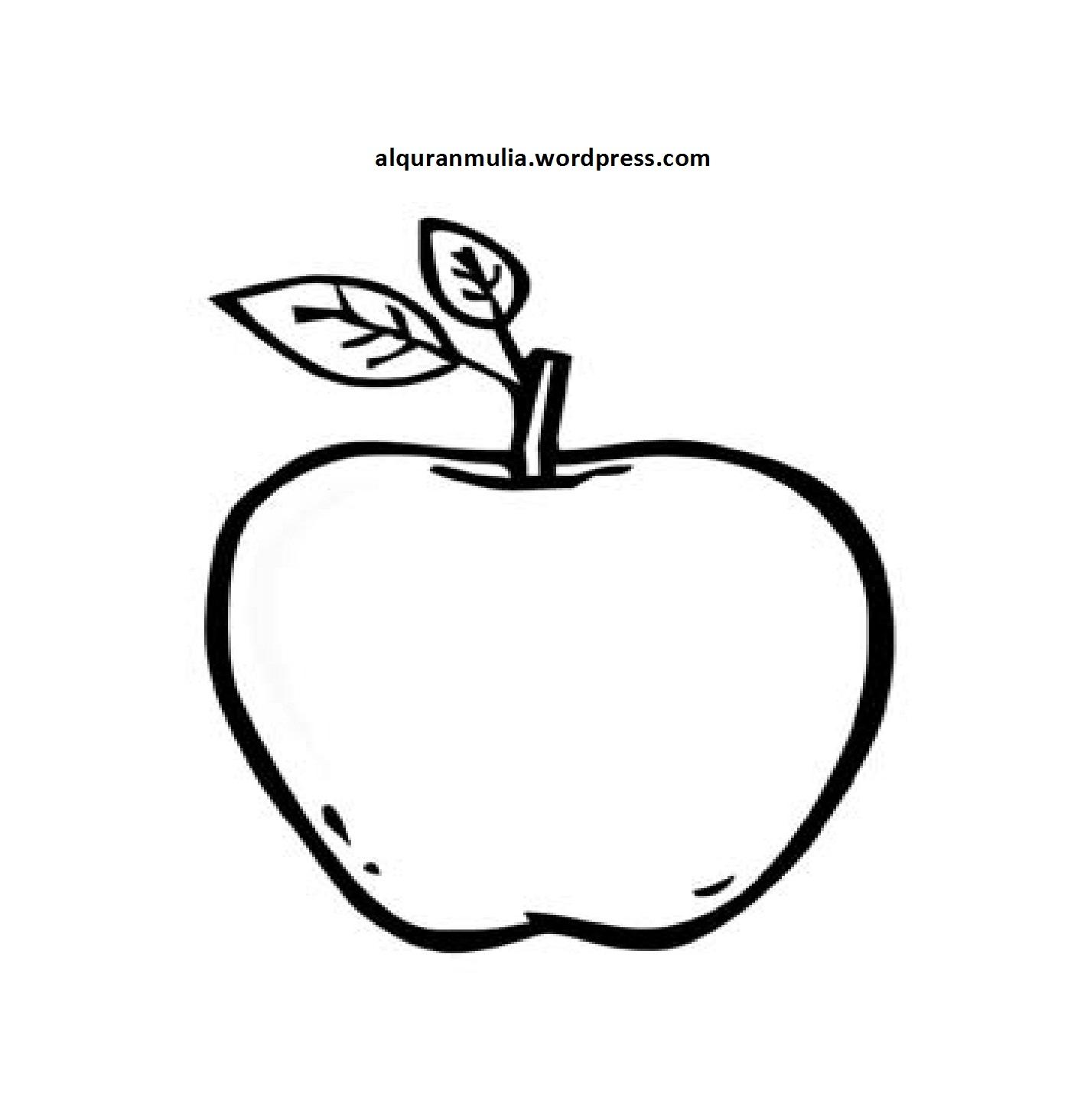 Mewarnai gambar buah apel anak muslim