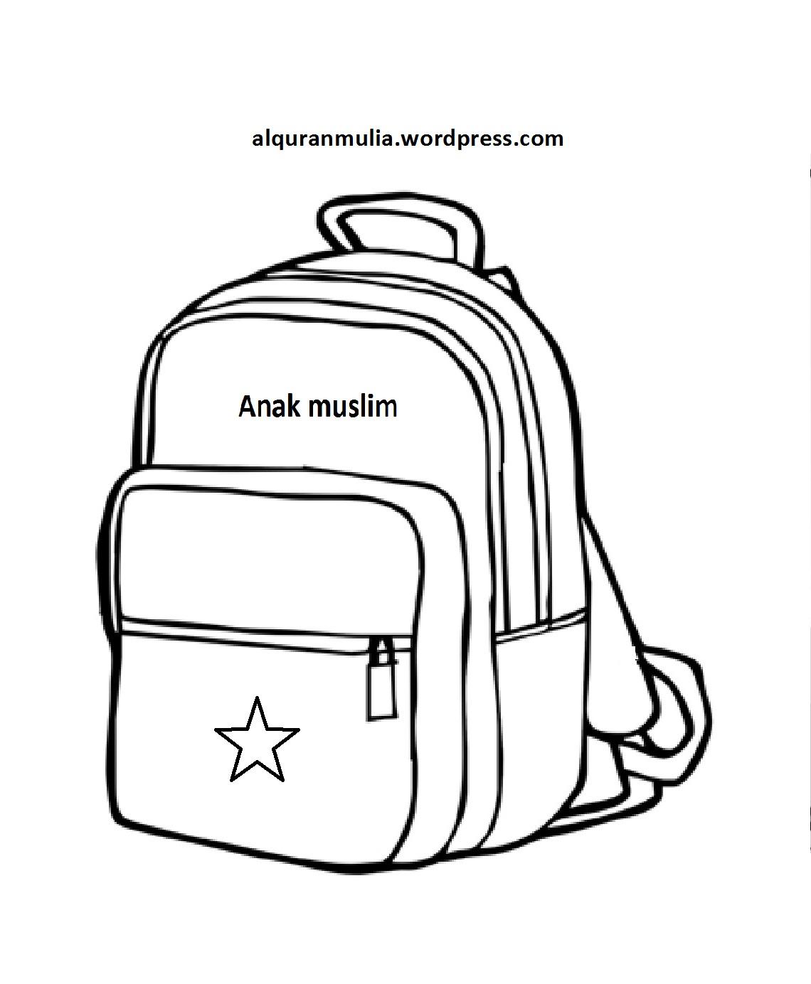 Mewarnai Gambar Benda Tas Anak Muslim Alqur Anmulia