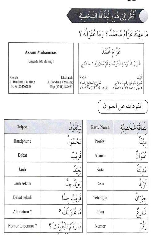 percakapan bahasa arab tsanawiyah - al-unwaanu - alamat