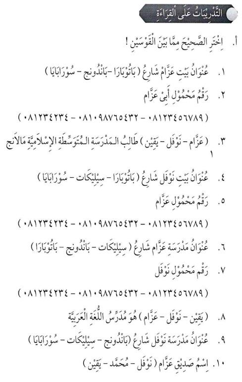 percakapan bahasa arab tsanawiyah - al-unwaanu - alamat11