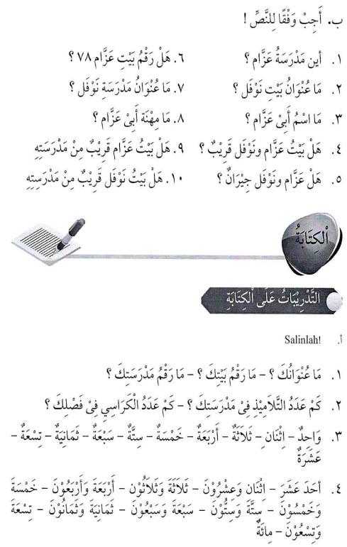 percakapan bahasa arab tsanawiyah - al-unwaanu - alamat12