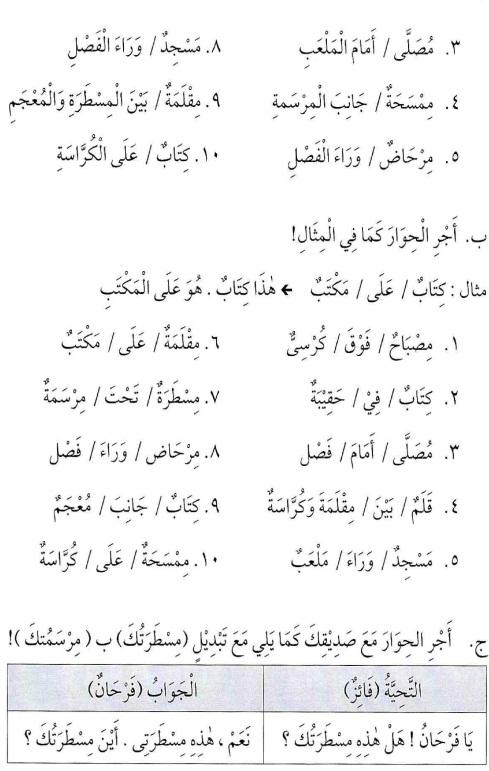 percakapan bahasa arab tsanawiyah -hal yang berkenaan dengan sekolah6