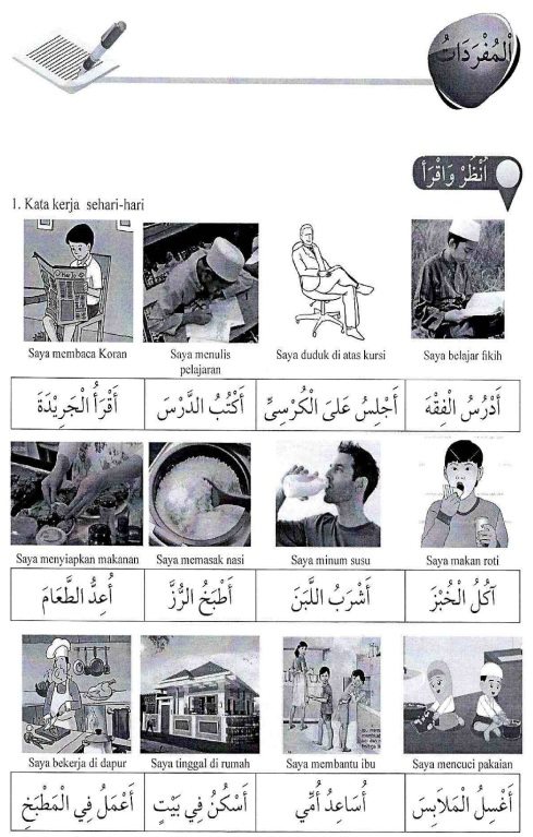 percakapan bahasa arab tsanawiyah - min yaumiyyaatil ustrati -aktifitas keluarga sehari-hari