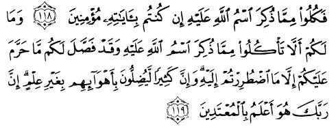 tulisan arab alquran surat al an'am ayat 118-119