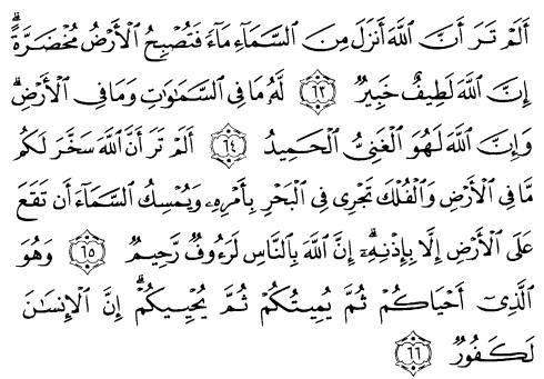 tulisan arab alquran surat al hajj ayat 63-66