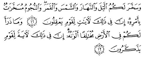 tulisan arab alquran surat an nahl ayat 12-13