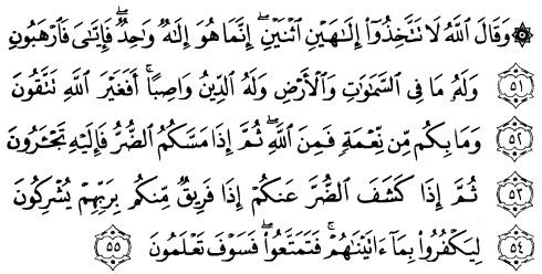 tulisan arab alquran surat an nahl ayat 51-55