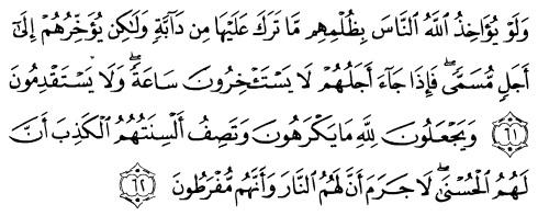 tulisan arab alquran surat an nahl ayat 61-62