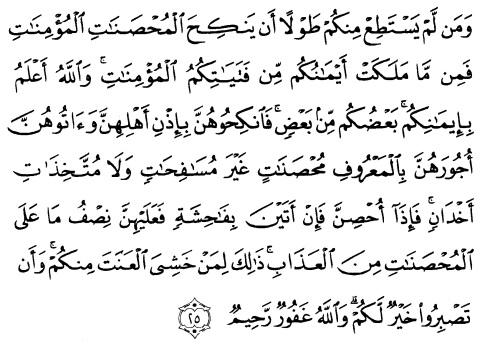 tulisan arab alquran surat an nisaa' ayat 25