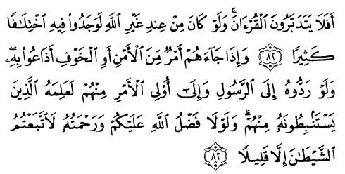 tulisan arab alquran surat an nisaa' ayat 82-83