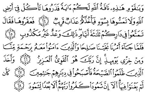 tulisan arab alquran surat huud ayat 64-68