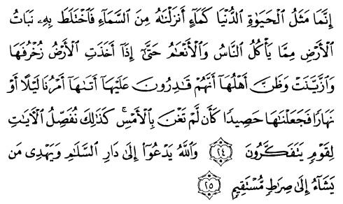 tulisan arab alquran surat yunus ayat 24-25