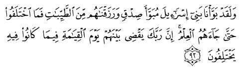 tulisan arab alquran surat yunus ayat 93