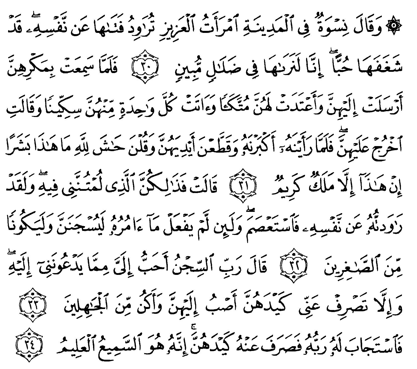 Tafsir Ibnu Katsir Surah Yusuf Ayat 30 34 Alquranmulia
